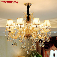 hot deal buy modern luxury crystal chandelier lighting for living room european lustre para with shade indoor pendant lamp home decorative