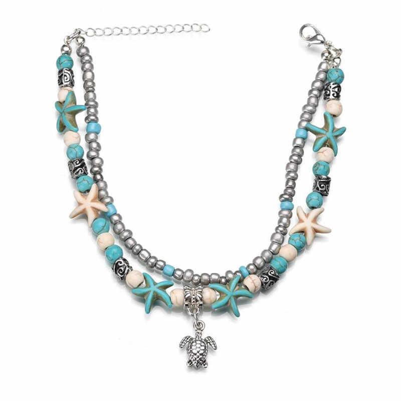Wiele żółw koralik urok łańcuszek na kostkę dla kobiet w stylu Vintage Boho powłoki łańcuch bransoletka na kostkę plaża letnie wakacje akcesoria biżuteria