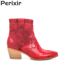 Perixir New Spring/Autumn Women Boots Ankle Luxury Red Snakeskin Chelsea Sexy Pointed Toe for Square heel