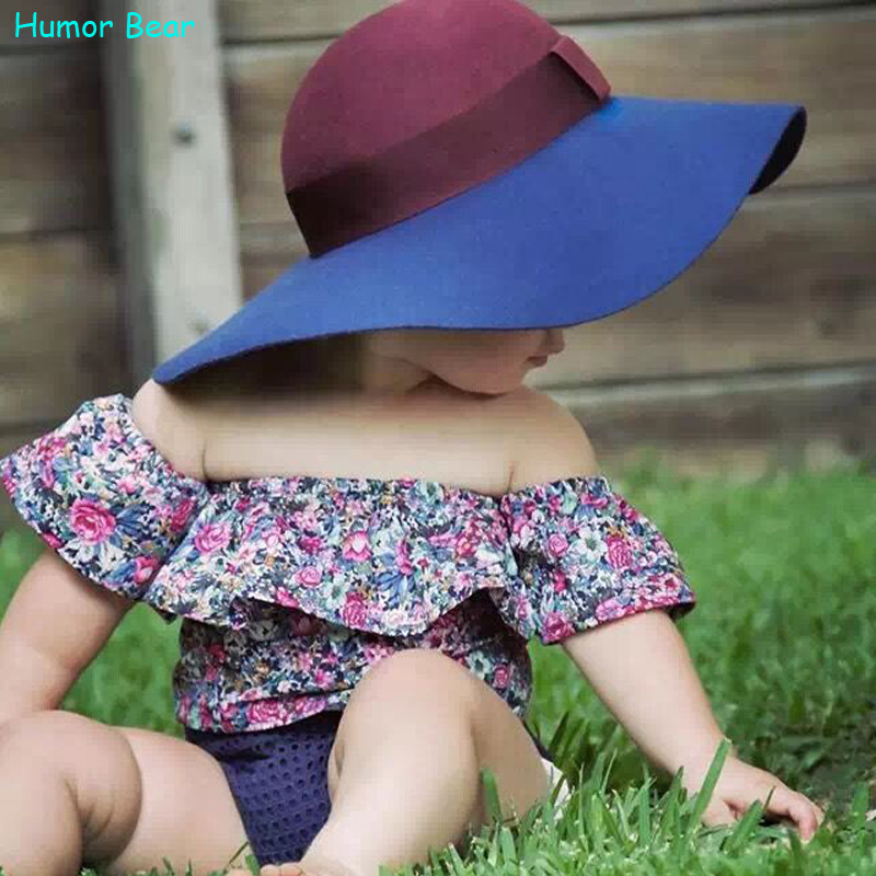 Humor Bear New style 2016 summer Small broken flower baby girls clothes set cotton suit set Kids clothing infant clothing