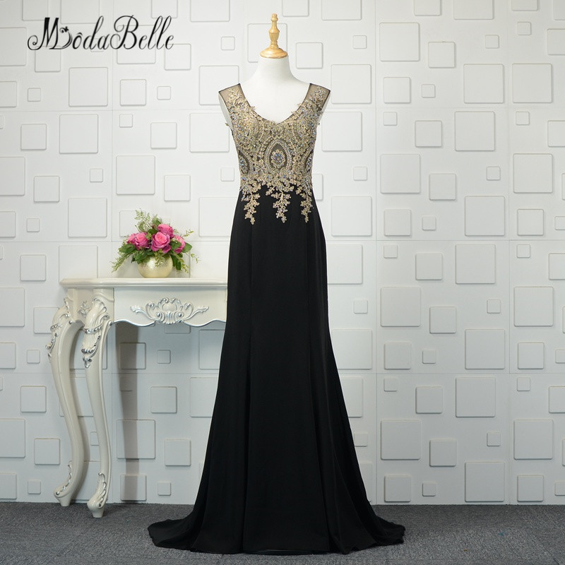 modabelle Beaded Long Evening Gowns With Applique Feestjurken Dames V Neck Black And Gold Mermaid Prom