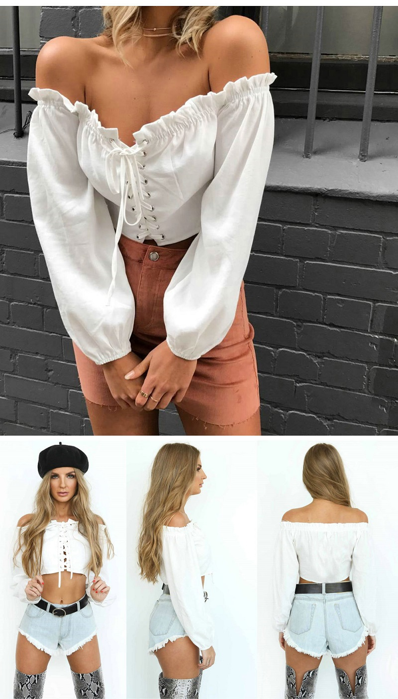 HTB1CXb.aHsTMeJjy1zeq6AOCVXao - Sexy Lace Up Off Shoulder Crop Tops Long Sleeve JKP237