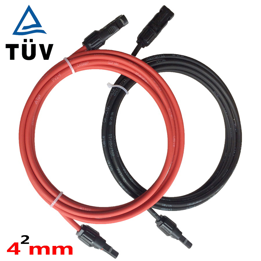 Solar PV Cable 4mm2 with MC4 connector Tinned-Copper Conductor TUV approved XLPE insulation solar cable wire