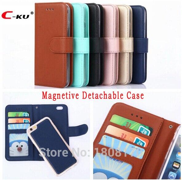 C-ku Magnetic Detachable Case For Iphone X 8 7 6 6s Plus 5 5s Se For Samsung Galaxy S8 S5 S7 S6 Edge Wallet Leather Cover 1pcs Fine Craftsmanship