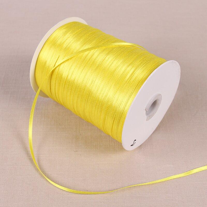 3 мм атласные ленты 22 м/лот DIY ручной работы товары для украшения свадьбы, дня рождения Подарочная упаковка белые ленты - Цвет: Цвет: желтый