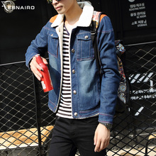 Winter short velvet denim jacket thick cotton padded male coat adolescent men's casual jeans influx men A023