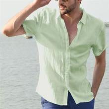 Men's Casual Blouse Linen shirt Loose Tops Short Sleeve Tee