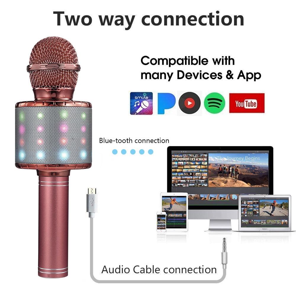 Glowing Bluetooth Wireless Microphone WS858L Home Karaoke Microphones Speaker Handheld Music Player Singing Recorder KTV