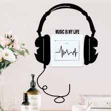HENGHOME 1 Pc 20*20cm Character Funny DIY Headset Switch Sticker Decal Music Is My Life Wall Stickers(China)