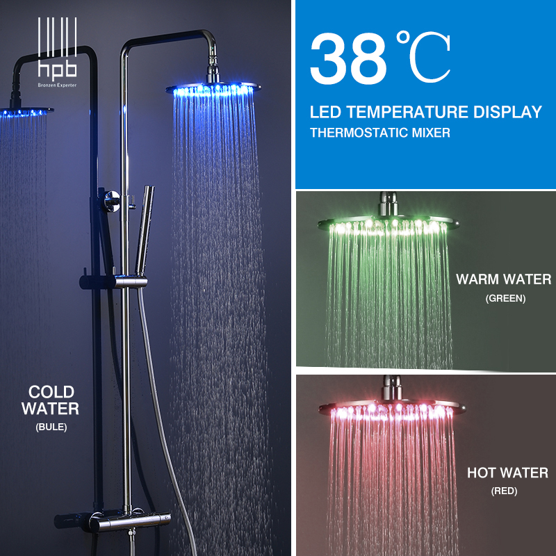 HPB Brass Chrome Bathroom LED Thermostatic Shower Faucet Set With 10 inch Round Shower Head Bath