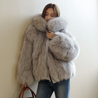 Women's Real Fox Fur coat with Big fur hood Winter Reversible Fur Parka Natural Fox Jacket rf0223