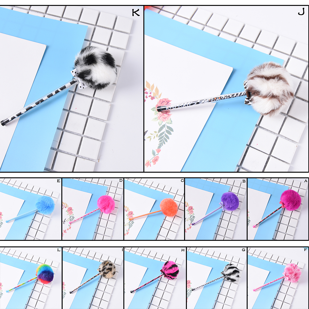 0.5mm Creative Stationery Lovely Color Hair Ball Pen Needle Tube Pen Plush Lapices Huarache Zx Flux Gel Pens 1pcs