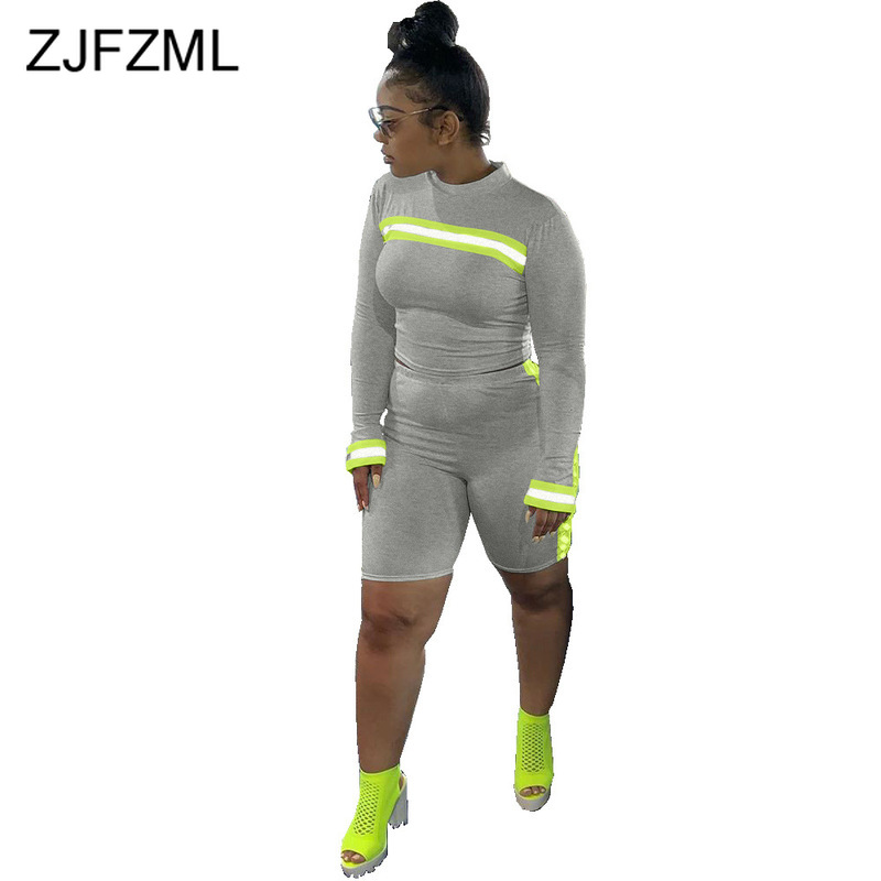 Reflective Neon Green Spliced Sexy Biker Shorts Set Women O Neck Long Sleeve Crop Tops And Skinny Shorts Sportswear 2 Piece Set