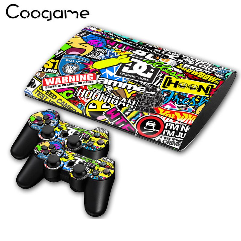 Stickthumb For PalyStation 3 Slim 4000 Console Sticker & 2 Controller Decal For Sony PS 3 Slim4000 Games
