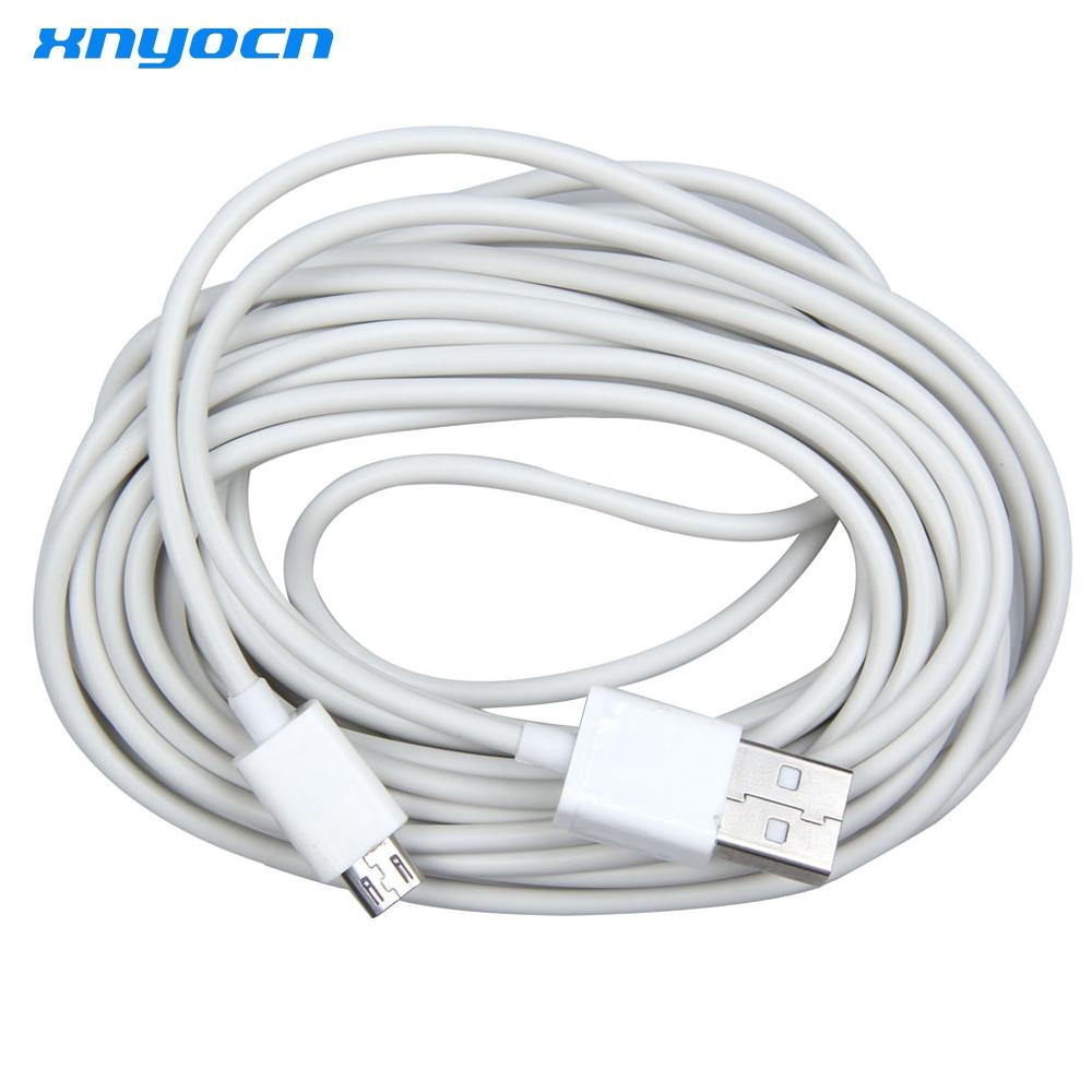 Xnyocn nuevo Cable 5 M Micro USB adaptador de Cable de datos de carga para Samsung teléfono blanco para LG xiaomi