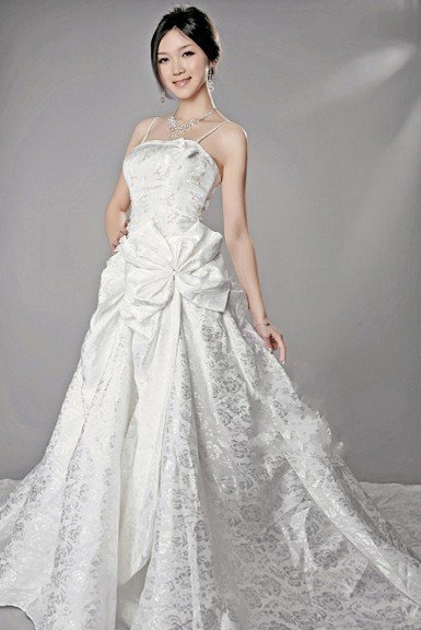 A-Line Spaghetti Shrap Floor-length Satin Wedding Dresses