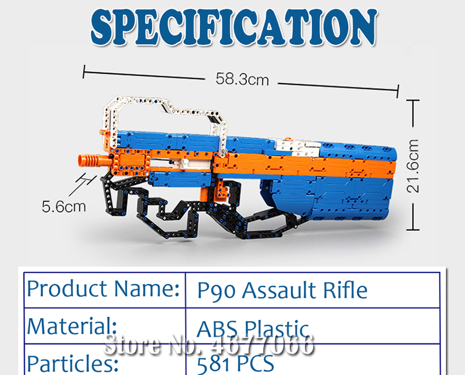 building blocks P90 Assualt Rifle gun  military bricks weapon set can fire  rubber band  toy for children boys 16