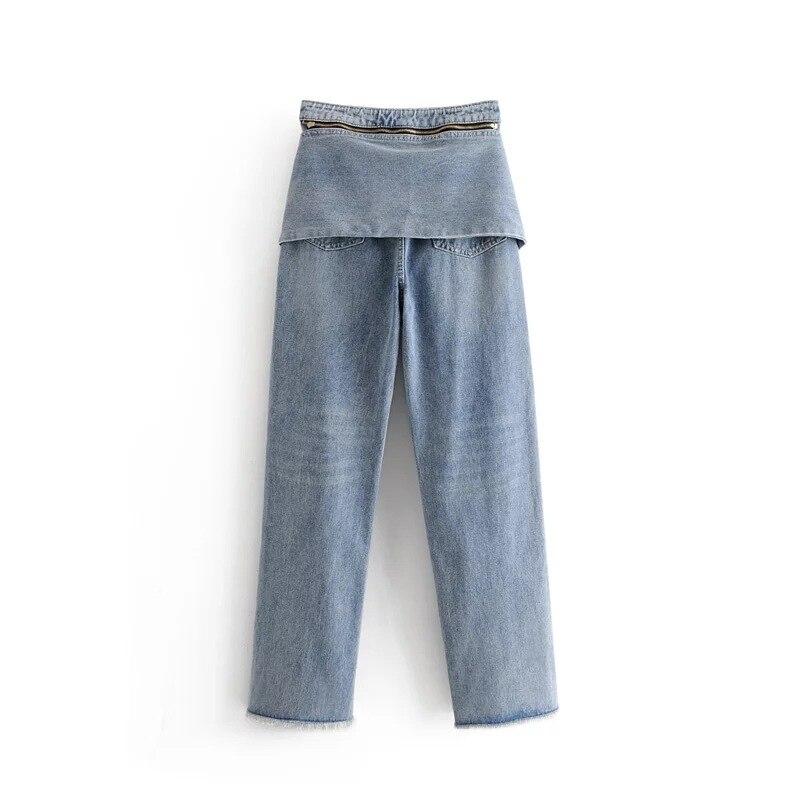 2018 De Cintura Diseño Para Femme Vaqueros Alta Jeans Pantalones Moda Mujer Azul Vintage Encaje Loose qxCr1qAw