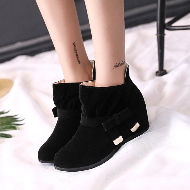 MCCKLE Women Autumn Ankle Boots Female Plus size Height Increasing Shoes Butterfly-knot Mid High Casual Footwear Short Botas