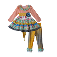 Latest Style Princess Floral Cotton Outfits Kids Girls Boutique Clothing Dress With Belt Kids Remake Ruffle Outfits Sets F171