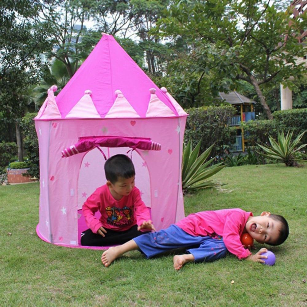 ⃝Rosa portátil niños tienda Príncipe plegable Castillo Cubby play ...