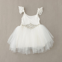 Retail 2016 New Sweet Baby Girls Fairy Lace Dress Crystal Belts Princess Party Dress Casual Sundress
