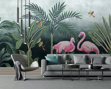 beibehang 3d wallpaper Medieval hand-painted tropical rainforest flamingo HD living room bedroom background decorative murals