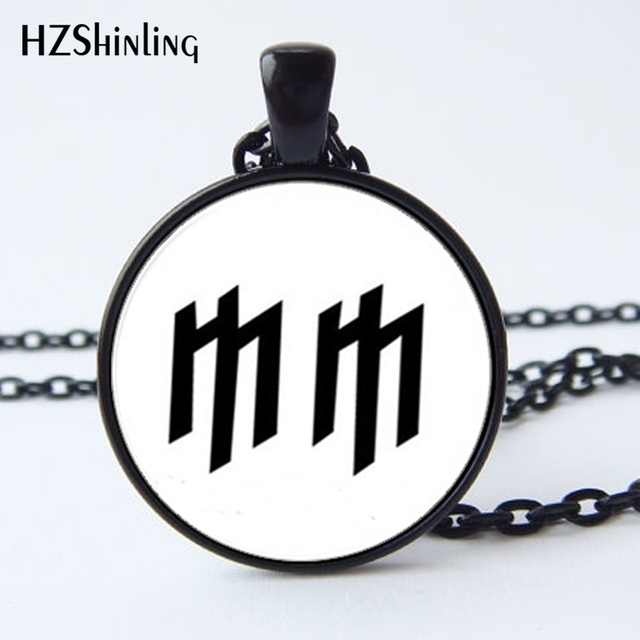 Hz A405 New Marilyn Manson Necklace Glass Mm Logo Pendant Jewelry
