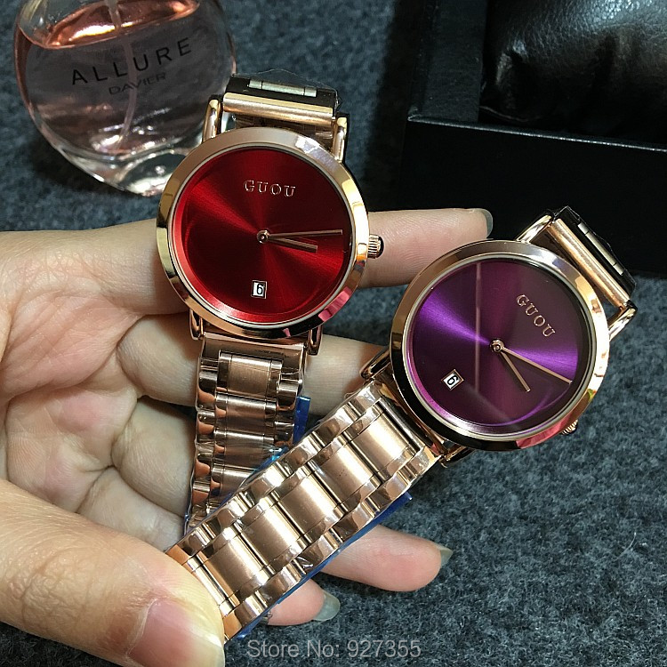 5 Colors Fashion Women Watch Lady Luxury Stainless Steel Rose Gold Wristwatch Men Women Calendar Quartz Dress Watches Hot Sale in Women 39 s Watches from Watches