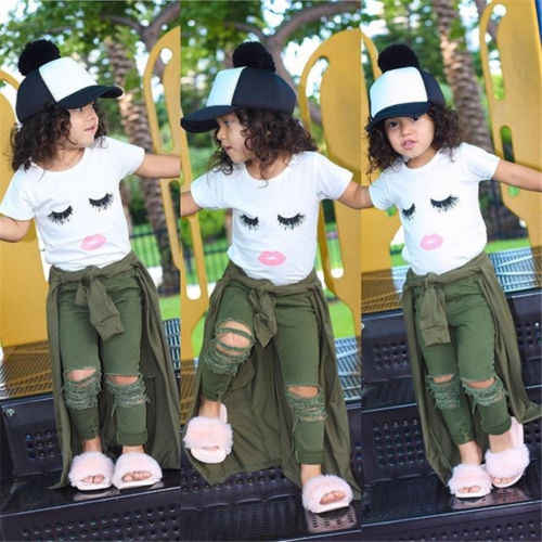 pudcoco summer Newborn Baby Girls clothes sets Eyelashes Tops T-shirt and Army Pants Leggings Outfits Kids Clothes  2Pieces Sets