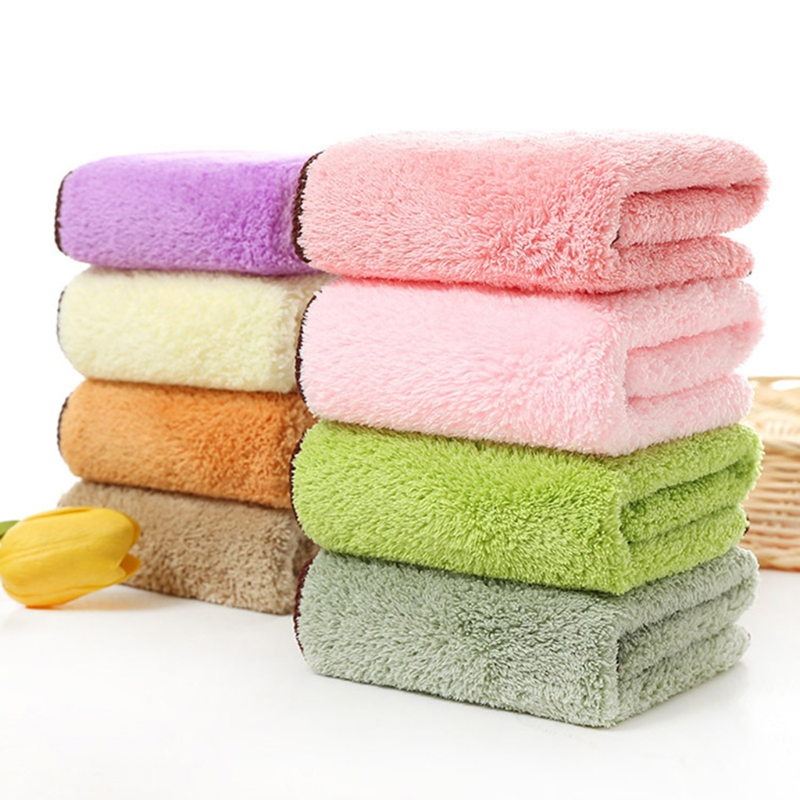 NoEnName-Null Baby Towel 30x30cm Coral Fleece Soft Wipe Food Washing Face Square For Children soft baby handkerchief for baby