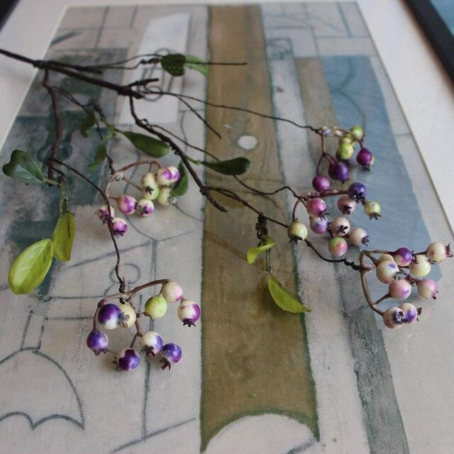 1 Teile/los Schwarz/Rot/Lila Farbe 45 cm DIY Gefälschte Obst Beeren Künstliche Granatapfel Kirsche Bouquet Für Weihnachten Dekoration