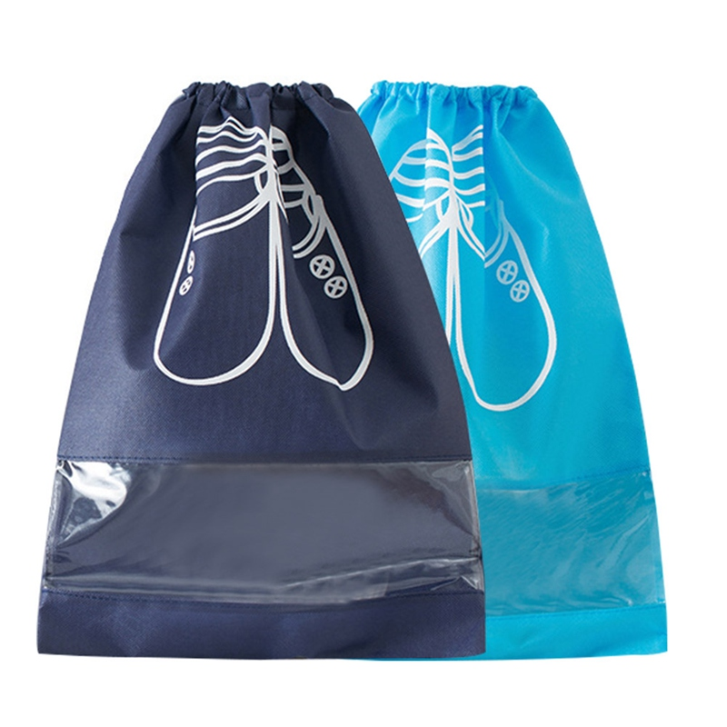 Nonwovens Conveniently Drawstring Laundry Bag Shoes Storage Bags Travel Home Organization 35.5x27cm 10pcs/Pack Shoes Bags Blue