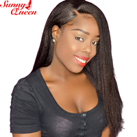 Sunny Queen 10 24 Nature Color Yaki Straight Brazilian Full Lace Human Hair Wigs For Black
