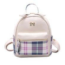 Корейской версии японский fashion для отдыха Sweet из искусственной кожи милые Цвет решетки Малый Fresh Мультфильм Путешествия девушку Девушка ПУ рюкзак