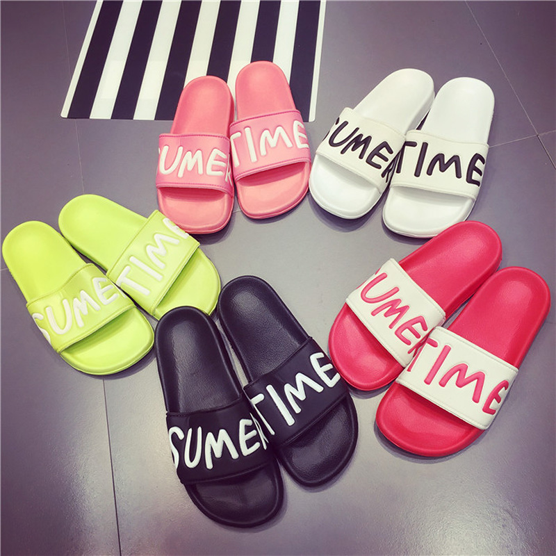 Plus size 35-44 Women Slides Home Slippers Beautiful Words Women Summer Soft Beach Shoes Sandals Woman Flip Flops Sandalias women sandals shoes summer fashion flip flops cartoon cute shoes beach slippers cork slippers sandals slides plus size 35 42