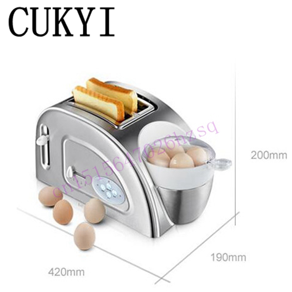 CUKYI Toaster Household automatic multi-function breakfast machine egg boiler Stainless steel Electric baking pan heating oven cukyi 2 slices bread toaster household automatic toaster breakfast spit driver breakfast machine