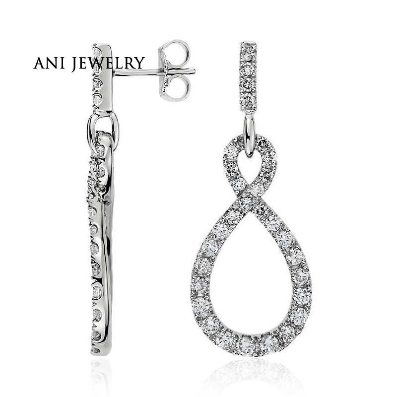 ANI 14k White Gold Women Dangle Earrings 1.37 ct Certified I/SI1 Natural Diamond Large Teardrop Long Dangle Earrings for Female цена