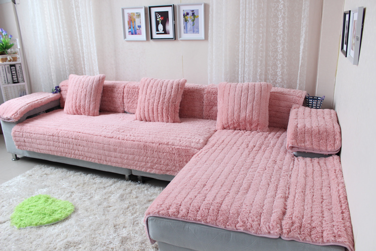 Pink Pure Color Slipcovers for Living Room Autumn Winter Anti skid ...