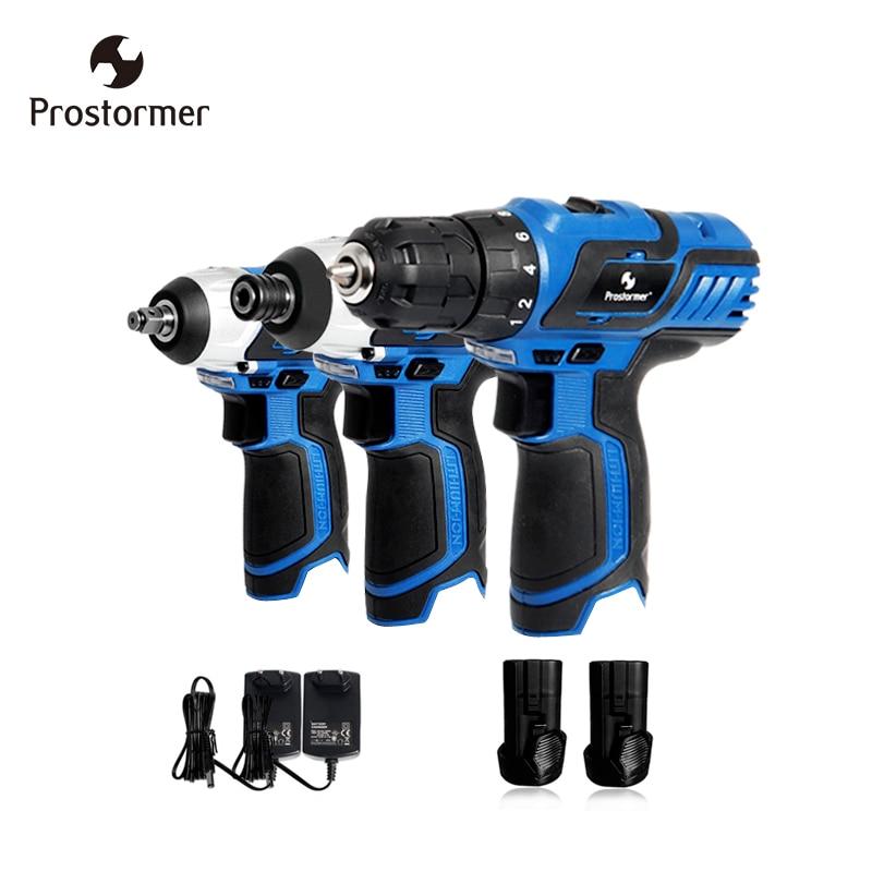 Prostormer 12 V taladro eléctrico llave eléctrica destornillador eléctrico de kit de herramienta universal dos baterías cargador