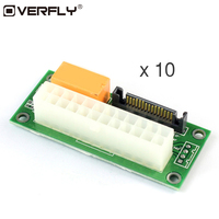 Overfly 10 Pcs Add2psu Power Supply Adaptor Sync Starter Extender For ATX 24Pin To Molex SATA