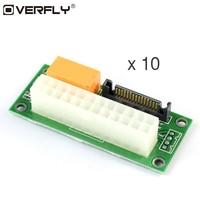 Overfly 10 Pcs Add2psu Power Supply Adaptor Sync Starter Extender For ATX 24Pin To Molex SATA