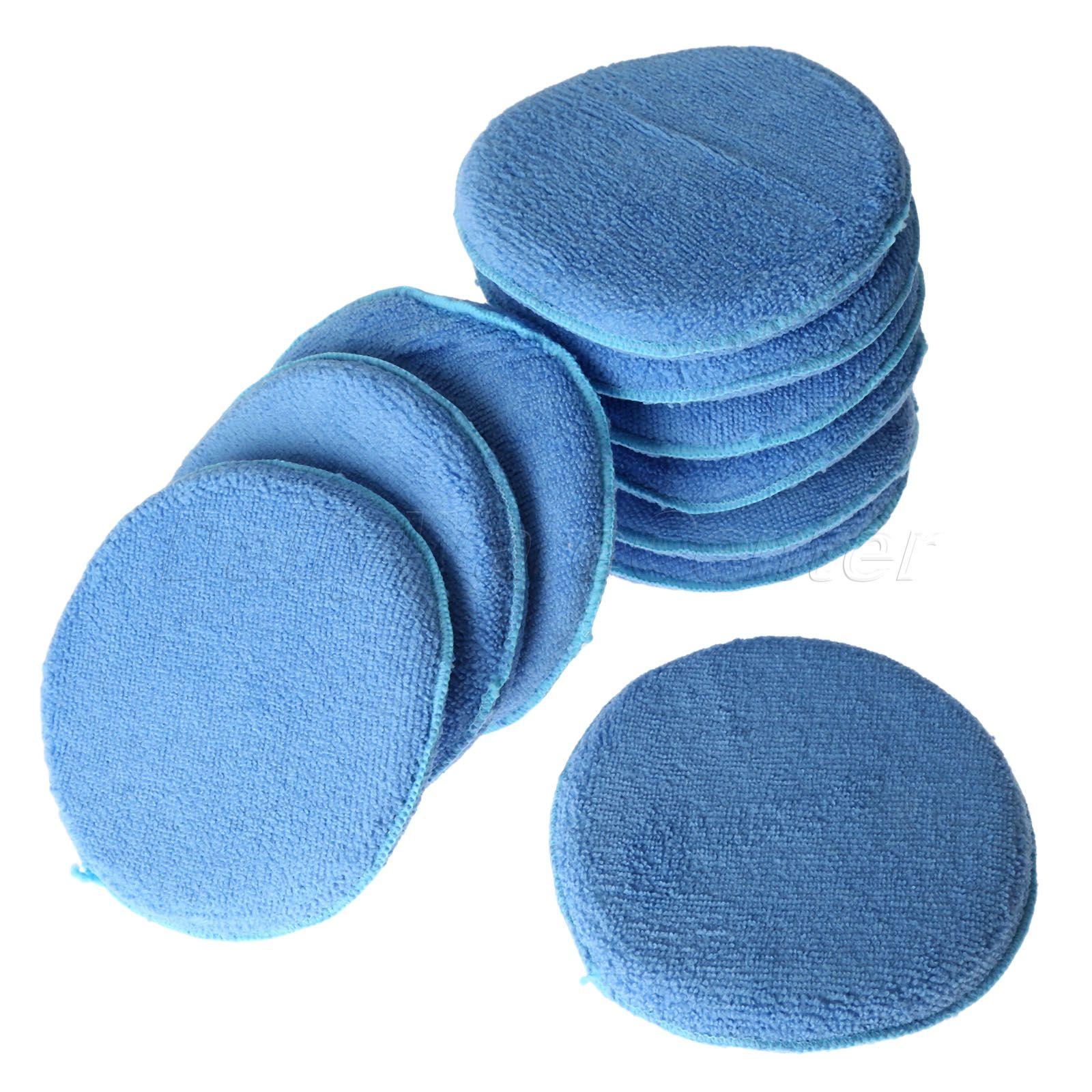 10Pcs 6 Microfiber Foam Sponge Waxing Buffing Polishing Pads for Car Care Clean