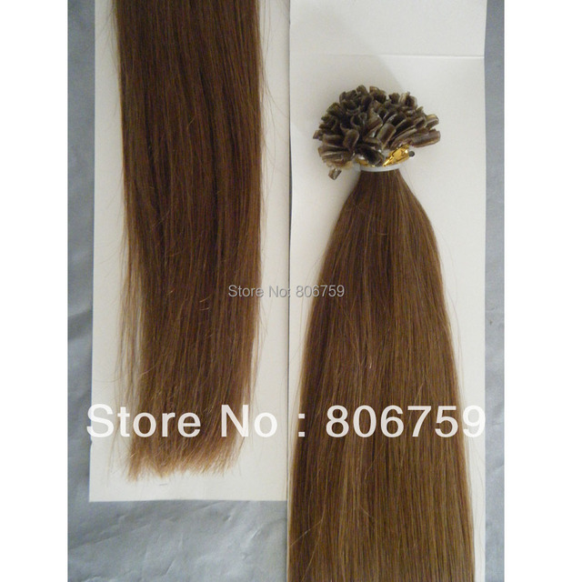 "1g/s 18"" 20"" 22"" 24"" Indian remy Keratin nail tip hair/ U tip hair extension #6 chestnut brown color 100gram/pack"