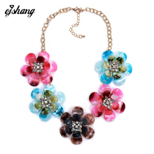 Fashion Women 2016 Necklaces Pendants Collier Femme Bib Collar Choker Big Costume Maxi Jewelry Blue Flower Crystal Necklace