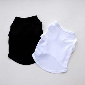 pet dog clothes black and white T-shirt soft puppy dog clothing summer shirt casual vest XS-L suitable for small animal