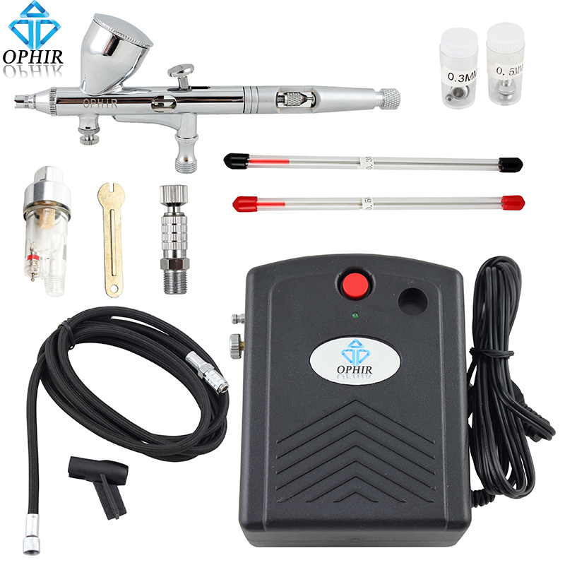 OPHIR Complete Temporary Tattoo Airbrush Set Compressor 100V-240V 3 Tips Dual-Action Airbrush Kit for Nail Art#AC034+AC070+AC011 ophir 0 3mm airbrush kit with mini air compressor single action airbrush gun for cake decorating nail art cosmetics ac002 ac007