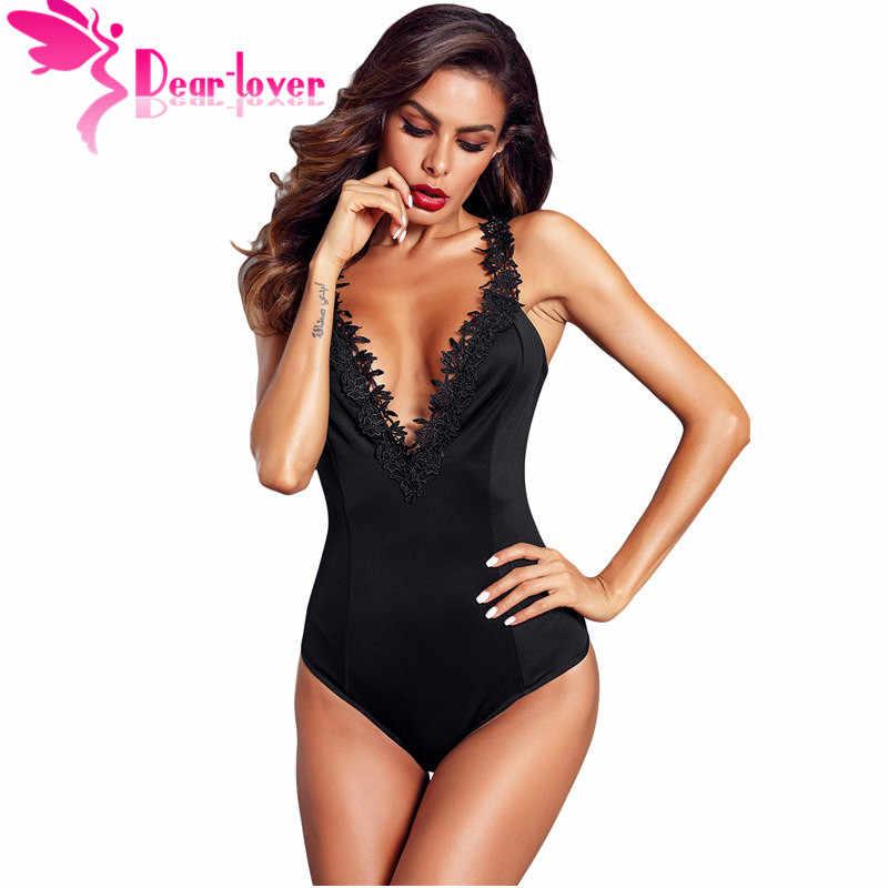 Dear Lover, черный/красный, вязанный крючком, с глубоким вырезом, Женская Сексуальная кружевная женская комбинация без рукавов Облегающий комбинезон, комбинезон, женский боди LC32221