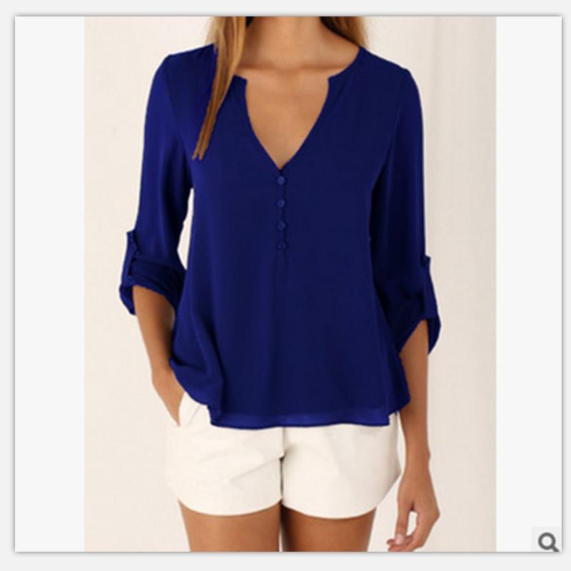 Women shirt Summer Plus Size Tee Basic Shirts Women Solid V Neck Seven points Sleeve Casual Big Size Female 4XL 5XL Tops Femme 1
