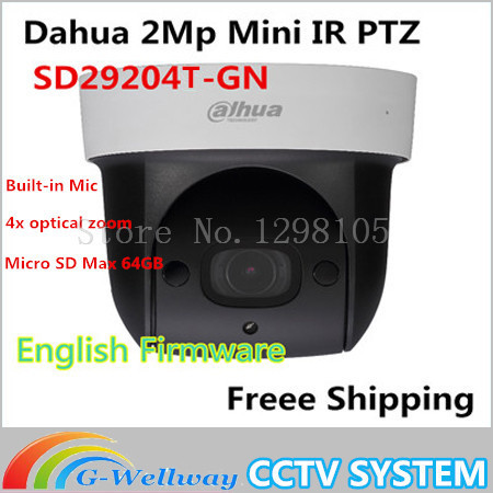 Original dahua DH-SD29204T-GN replace SD29204S-GN IP 2MP Mic built in Network Mini PTZ Dome 4x optical zoom POECamera SD29204S original english firmware dahua dh sd29204t gn replace sd29204s gn 2mp network mini ir ptz dome ip speed dome 4x optical zoom